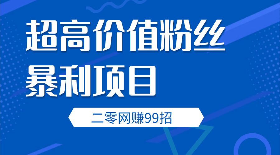 二零网赚第2招超高价值粉丝暴利项目(视频课程)